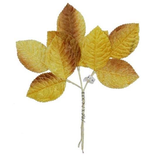 Sprig of Golden Yellow Ombre Velvet Rose Leaves ~ Vintage Japan