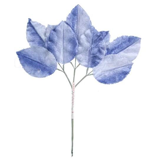 Large Sprig of Pale Blue Ombre Velvet Rose Leaves ~ Vintage Japan