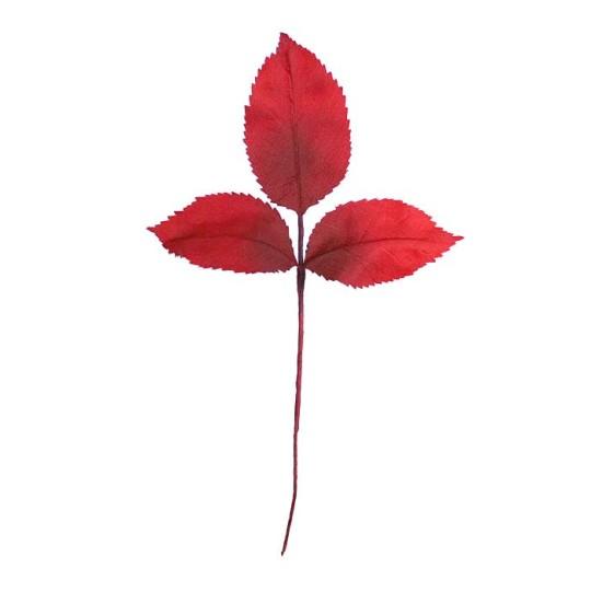 15 Red Ombre Embossed Silk Rose Leaves ~ Vintage Germany