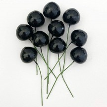 10 Vintage Black Cherries Old Stock Millinery Fruit ~  3/4""