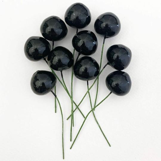 """10 Vintage Black Cherries Old Stock Millinery Fruit ~  3/4"""""""