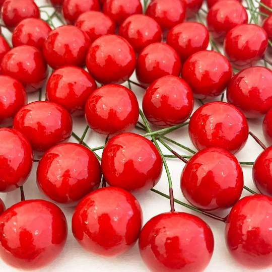 10 Vintage Red Cherries Old Stock Millinery Fruit ~  3/4""