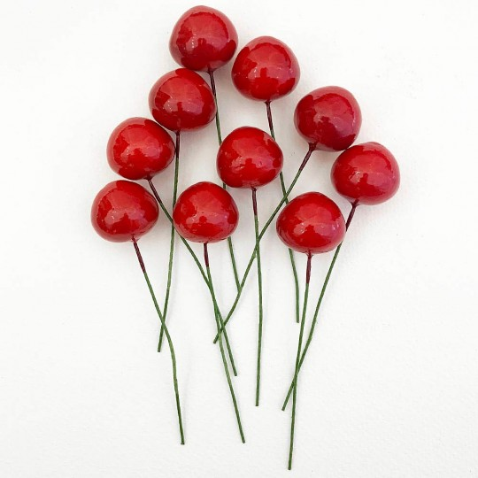 "10 Vintage Red Cherries Old Stock Millinery Fruit ~  3/4"""