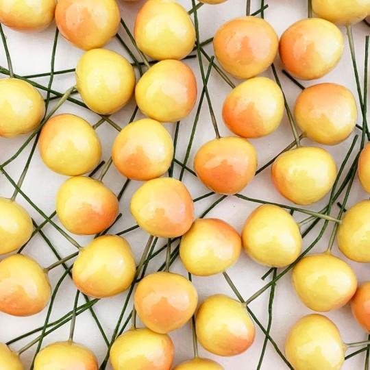 "10 Vintage Yellow Rainier Cherries Old Stock Millinery Fruit ~  3/4"""