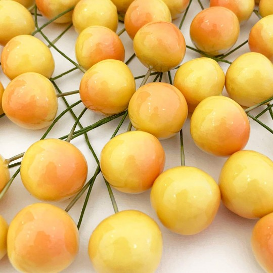 10 Vintage Yellow Rainier Cherries Old Stock Millinery Fruit ~  3/4""