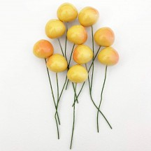 "10 Vintage Yellow Rainier Cherries Old Stock Milinery Fruit ~  3/4"""