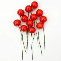 "12 Vintage Red Apples Old Stock Millinery Fruit ~  5/8"""