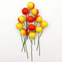 "12 Vintage Yellow-Orange Apples Old Stock Milinery Fruit ~  5/8"""