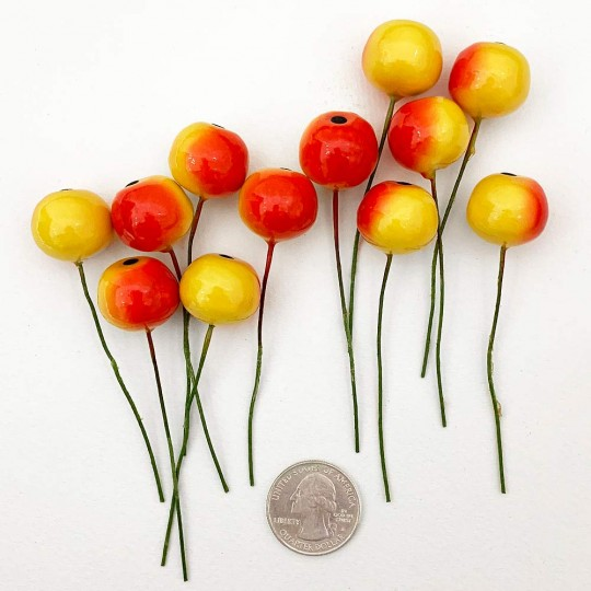 "12 Vintage Yellow-Orange Apples Old Stock Millinery Fruit ~  5/8"""