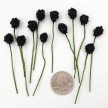 12 Mini Black Berries Vintage Old Stock Millinery Fruit ~  3/8""