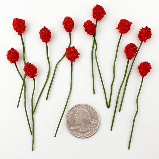 "12 Mini Red Raspberries Vintage Old Stock Millinery Fruit ~  3/8"""