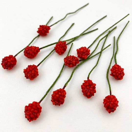 12 Mini Red Raspberries Vintage Old Stock Millinery Fruit ~  3/8""