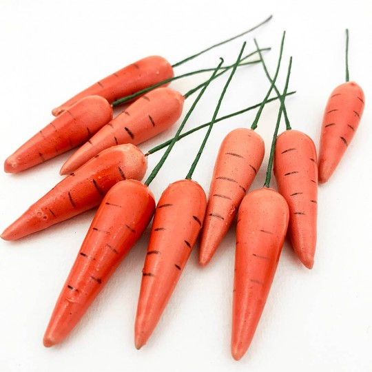 """10 Spun Cotton & Lacquered Vintage Carrots ~ 1 3/4"""""""