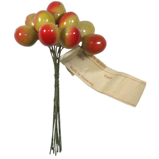 "10 Vintage Half Ripe Lacquered Cherries ~ 5/8"""