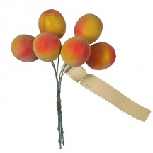"""6 Large Vintage Lacquered Peaches ~ 1-1/4"""""""