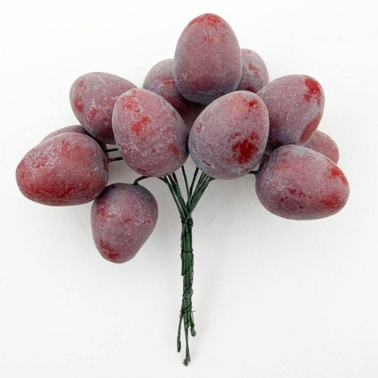 "12 Vintage Reddish-Purple Spun Cotton Sugar Plums ~ 1"""