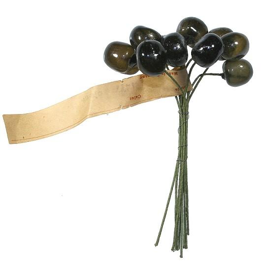 """10 Vintage Glass Millinery Cherries in Deep Brown ~ 5/8"""""""