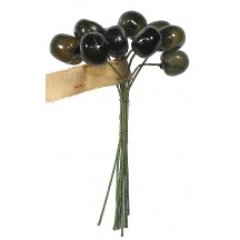 10 Vintage Glass Millinery Cherries in Deep Brown ~ 5/8""