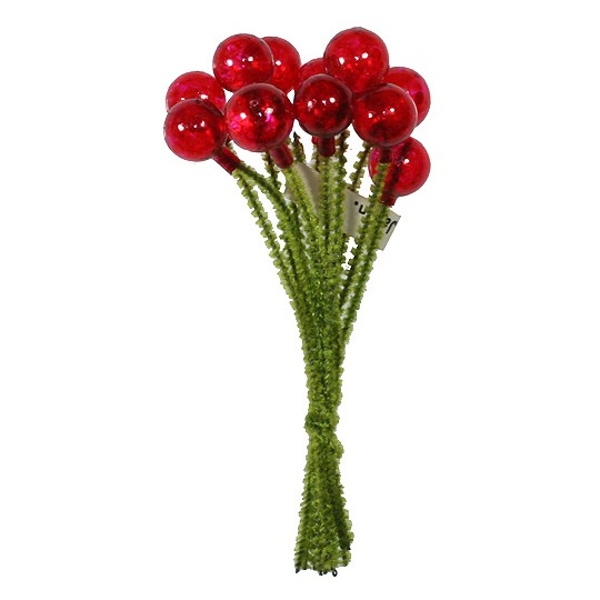 """12 Vintage Glass Millinery Berries in Clear Red ~ 3/8"""""""