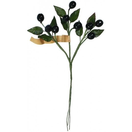 Spray of Vintage Black Glass Olives with Leaves ~ Vintage Germany