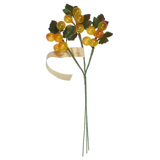 Spray of Vintage Yellow Glass Berries with Leaves ~ Vintage Germany