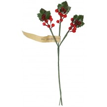 Spray of Petite Vintage Red Glass Currants with Leaves ~ Vintage Germany