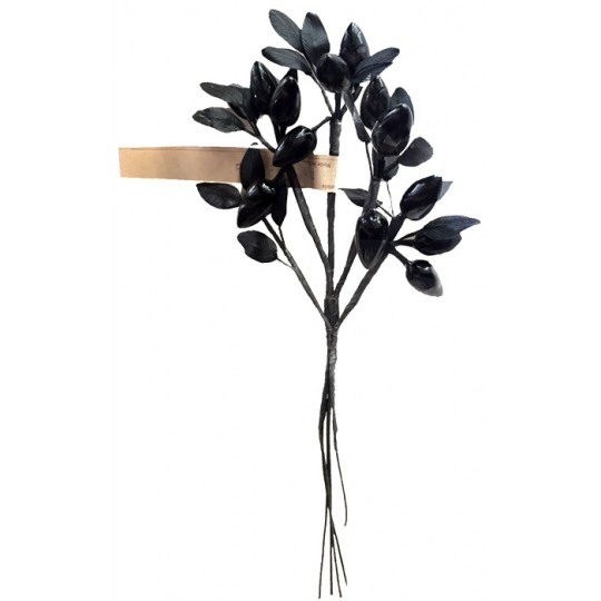 Spray of Glass Berries with Satin Leaves in Solid Black ~ Vintage Germany