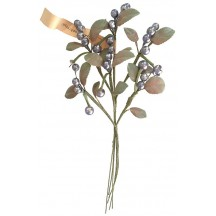 Spray of Silver Glass Berries with Handpainted Leaves ~ Vintage Germany