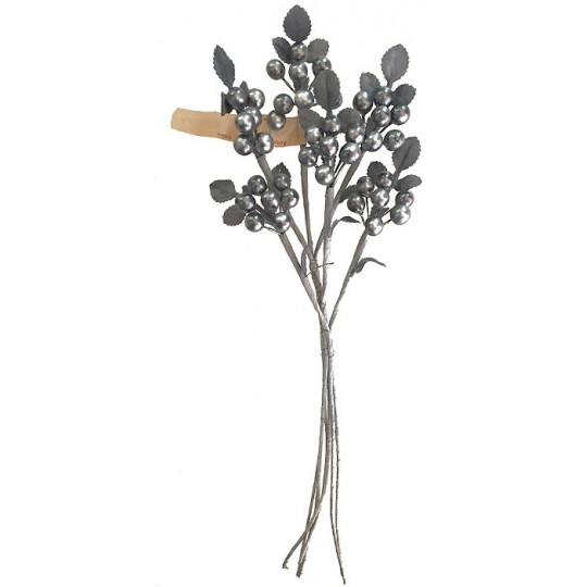Spray of Pearlized Silver Glass Berries with Silver-Grey Leaves ~ Vintage Germany