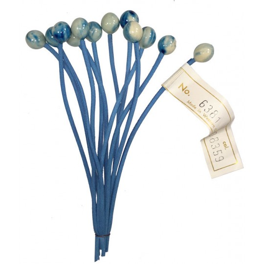 Bundle of 12 Stems with Blue Marbeled Glass Currants ~ Vintage Germany