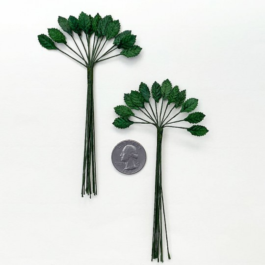 "24 Tiniest Green Velvet Leaves ~ 1/2"" Long (2 bundles of 12)"