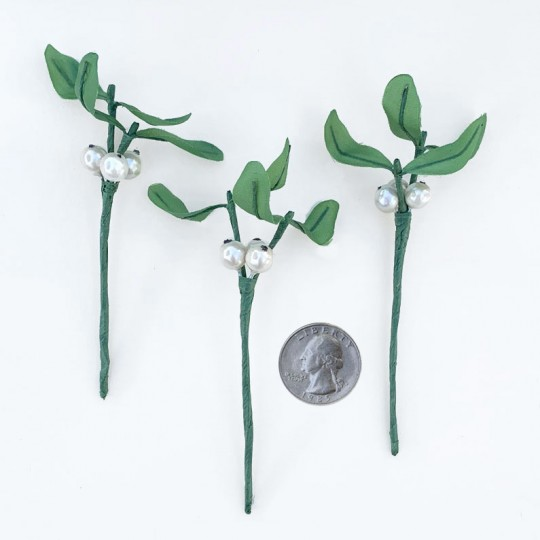 "3 Mistletoe and Berry Picks ~ 4"" Long"