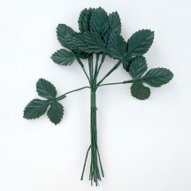 "Green Fabric Strawberry Leaves ~ 1-1/2"" Long"