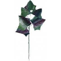 Sprig of Large Green and Violet Ombre Velvet Ivy Leaves