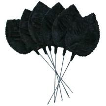 Set of 6 Embossed Black Velvet Rose Leaves ~ Czech Repub.