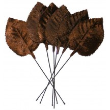 Set of 6 Embossed Brown Velvet Rose Leaves ~ Czech Repub.