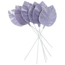 Set of 6 Embossed Lavender Purple Velvet Rose Leaves ~ Czech Repub.