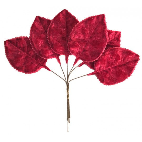 Set of 6 Embossed Burgundy Velvet Rose Leaves ~ Czech Repub.