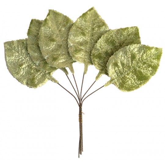 Set of 6 Embossed Moss Green Velvet Rose Leaves ~ Czech Repub.