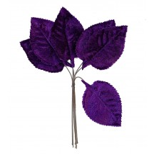 Set of 6 Embossed Purple Velvet Rose Leaves ~ Czech Repub.