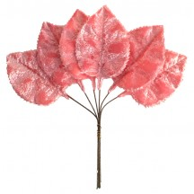 Set of 6 Embossed Pink Velvet Rose Leaves ~ Czech Repub.