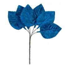 Set of 6 Embossed Peacock Blue Velvet Rose Leaves ~ Czech Repub.