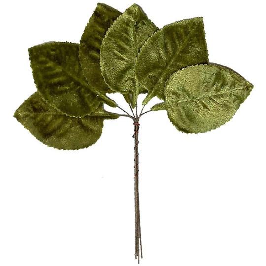 Set of 6 Green Velvet Leaves ~ Czech Repub.