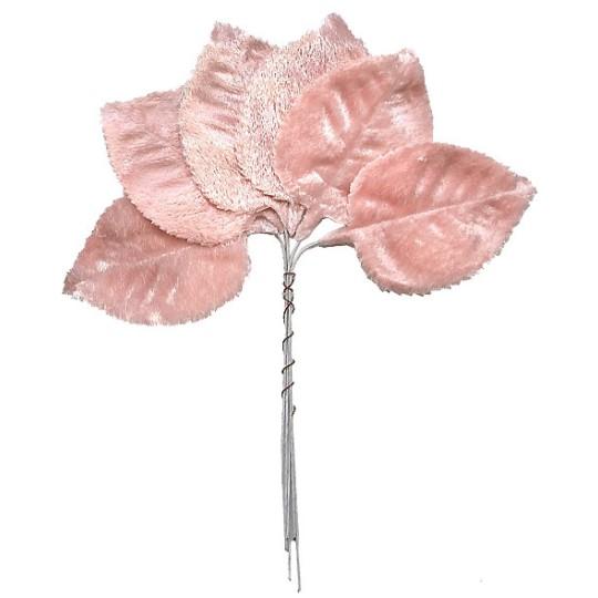 Set of 6 Pale Pink Velvet Leaves ~ Czech Repub.