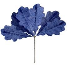 Set of 6 Blue Velvet Oak Leaves ~ Czech Repub.