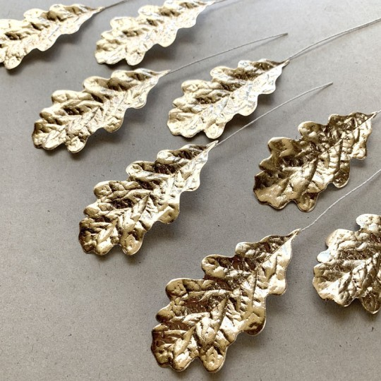 Set of 8 Pale Gold Foil Paper Oak Leaves ~ Czech Repub.