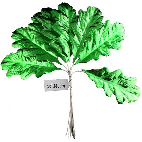 Set of 8 Green Foil Paper Oak Leaves ~ Czech Repub.