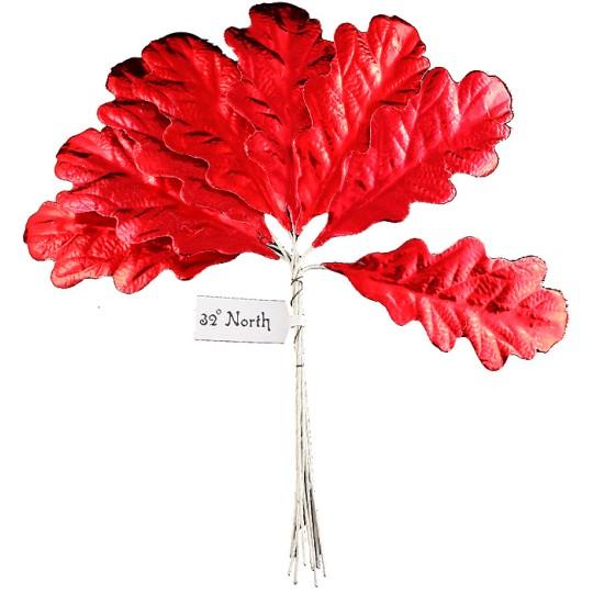 Set of 8 Red Foil Paper Oak Leaves ~ Czech Repub.