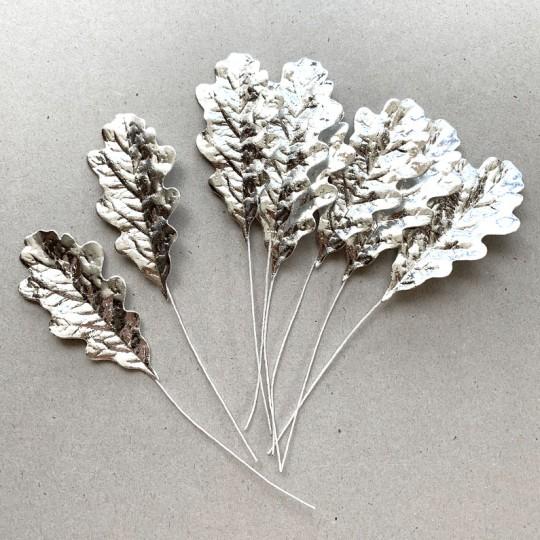 Set of 8 Silver Foil Paper Oak Leaves ~ Czech Repub.