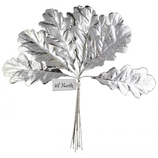 Set of 8 Silver Foil Paper Oak Leaves ~ Czech Repub.
